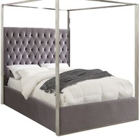 Porter Grey Velvet Queen Bed