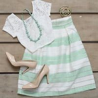 Once Upon A Time Mint Striped Skirt