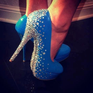 Silver Bling Heel and sole scatter High Heels ALL colours in sizes UK 3-8 Us 5- 10 AU 5-10  Diamontes / Diamante can be any colour :)