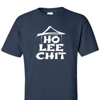 XX-Large Maroon Adult Ho Lee Chit Holy Shit Funny T-Shirt