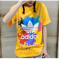 Adidas New fashion leaf letter multicolor print couple top t-shirt Yellow