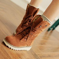 Faux Suede Lace Up Fur Lining Snow Boots Women Shoes 2890