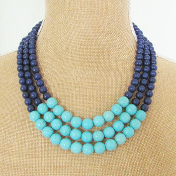 Color Block Necklace Turquoise Blue Howlite and Navy Blue Dyed Jade Beads - Preppy, Statement Necklace, Multi Strand