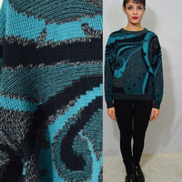90s Abstract Sweater Turquoise Medium Oversize Soft Grunge Vintage Women's Clothing Hipster Cosby Sweater Jumper Black Gray 80s 1990s
