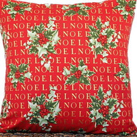 Noel Christmas Pillow Cover Cushion Holly Red Green Gold Metallic Decorative Christmas Decor 18x18