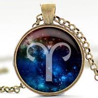 Aries Nebula Necklace Zodiac Pendant in Your Choice by FrenchHoney