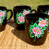 Coffee Mugs With Bright Pink and White Flowers