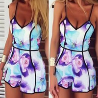 Floral Spaghetti Strap Mini Romper with Piping Detail