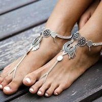 WD Boho Silver Plated Anklets