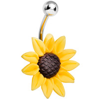 Stunning Sunflower Belly Ring | Body Candy Body Jewelry
