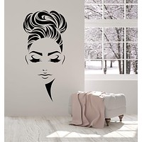 Vinyl Wall Decal Beauty Hair Salon Hairstyle Girl Face Makeup Stickers (2513ig)