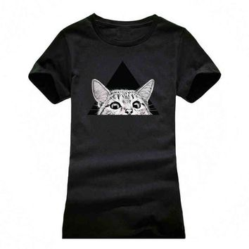 3D cat printed girl t-shirts casual cartoon  t shirt women t shirt fashion  tee shirt femme tops