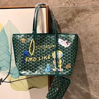 Goyard 2020 new women's cartoon pattern shopping bag mother bag two-piece set