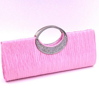 Rhinestoned Metal Satin Pleated Clutch Bag