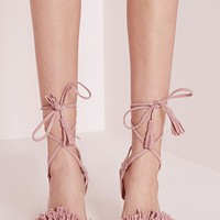 Missguided - Tassel Detail Barely There Heeled Sandals Pink