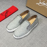 Christian Louboutin CL Silver Glitter Calfskin Pik Boat Leather Low Top Sneakers Online
