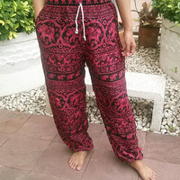 Red Elephants Printed Yoga Pants Hippie Baggy Boho Gypsy Pantalon Tribal Hipster Plus Size Aladdin Clothing Beach Baggy Unisex Zen Harem Hot