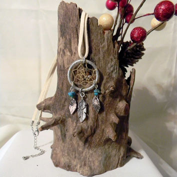 Winter Visions Dream Catcher Necklace    (n038)