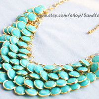 Sale-Aqua- Turquoise-Bubble statement necklace Autumn Jewelry,Beaded Jewelry