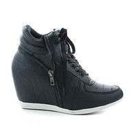 Woo71 Round Toe Lace Up Hidden High Wedge Fashion Women's Sneakers