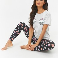 Cupcake Desserts Graphic Tee & Leggings Pajama Set