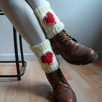 Knit Boot Cuffs Boot Toppers Hearts Leg Warmers Boot Socks in Red Cream Crochet Hearts Love Valentines Day Christmas Gift