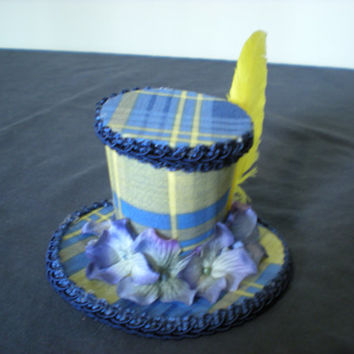 Blue and Yellow Plaid Mini Hat with Silk Flowers and Yellow Feather on Alligator Clip
