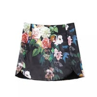 Black Vintage Floral Print Satin Mini Skirt