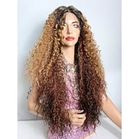 """Ombré brown curly lace front wig 26"""" ULTRA HD LACE 420"""