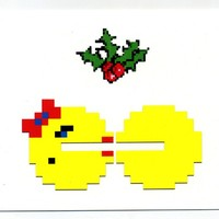 Videogame Christmas card, arcade 8 bit mistletoe holiday notecard