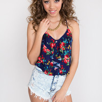 Camille Floral Top - Blue