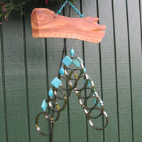 Recycled wine bottle wind chime, Juniper wood, Beads,  circle glass wind Chime, Turquoise