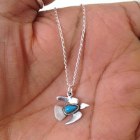 Vintage Sterling Silver Turquoise Bird Necklace UK Shop