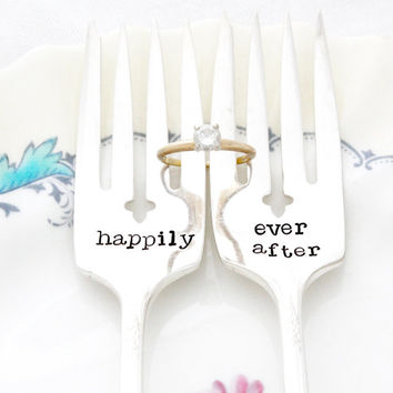 Happily Ever After- Table Setting, wedding forks, for unique engagement gift. Fairy Tale Wedding.