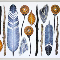 Nature Collection Painting - Feather Watercolor Art - Archival Print - 8x10 Nature Collection