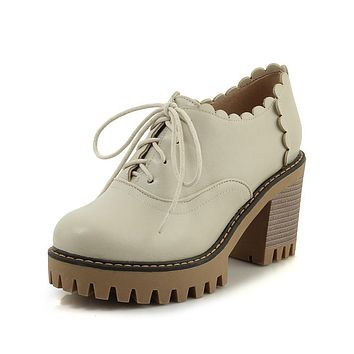 Ladies's Lace-up High Heelss Oxford Shoes
