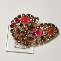 Pink and Purple Jeweled Brooch Vintage Sparkly Fashion Jewelry Pin in Gold Tone