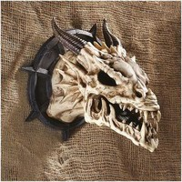 Horned Dragon Skull Wall Trophy - Gothic Wall Decor - Medieval & Gothic - Design Toscano