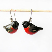 Bullfinches Birds Earrings handmade, red and black birds, birds jewelry, gift idea for her