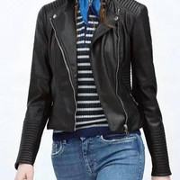 Leather Long Sleeve Jacket in Black not available