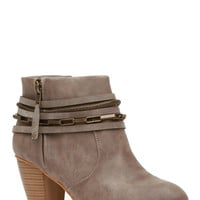 Grey Faux Nubuck Chunky Western Ankle Booties