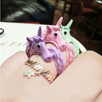 Candy Color Unicorn Finger Ring  For Women