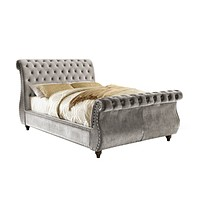 Shirley Contemporary Style Queen Sleigh Bed in Grey
