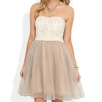 Short Prom Dress with Strapless Lace Bodice and Ballerina Skirt