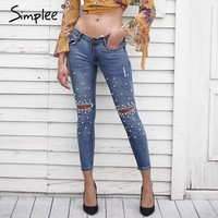 Pearl hole jeans