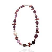 Amethyst and Agate Long Necklace with Crystal Accents