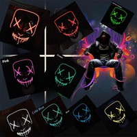 Halloween Mask EL Light Up Party Masks Purge Election Year Funny Masks Festival Cosplay Costume Supplies Glow LED Purge Masks