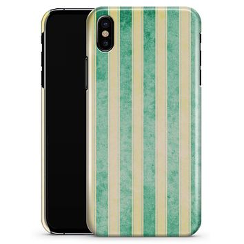 Green Grunge Vertival Stripes Over Yellow - iPhone X Clipit Case