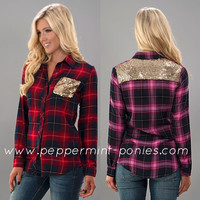 Plaid shirt with sequins