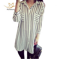5xl Autumn Medium Long Shirt Oversized Plus Size Lady Office Turn Down Collar Vertical Striped 2 Colors Casual Blouse